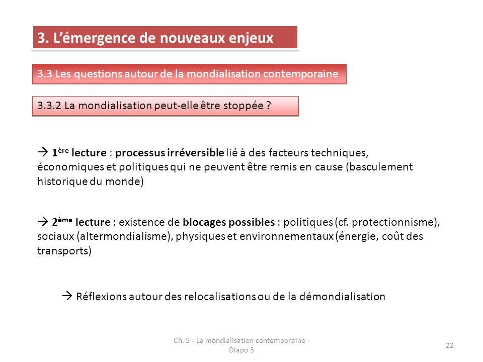 Ch. 5 - La mondialisation contemporaine - Diapo 3 22 3. Lémergence de nouveaux enjeux 3.3 Les questions autour de la mondialisation contemporaine 3.3.