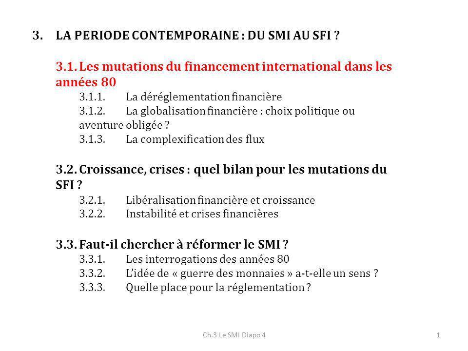 Ch.3 Le SMI Diapo 41 3.LA PERIODE CONTEMPORAINE : DU SMI AU SFI ? 3.1.Les mutations du financement international dans les années 80 3.1.1.La dérégleme