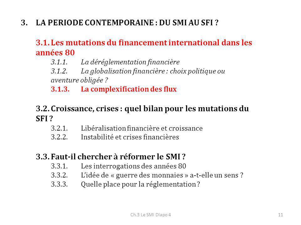 Ch.3 Le SMI Diapo 411 3.LA PERIODE CONTEMPORAINE : DU SMI AU SFI ? 3.1.Les mutations du financement international dans les années 80 3.1.1.La déréglem