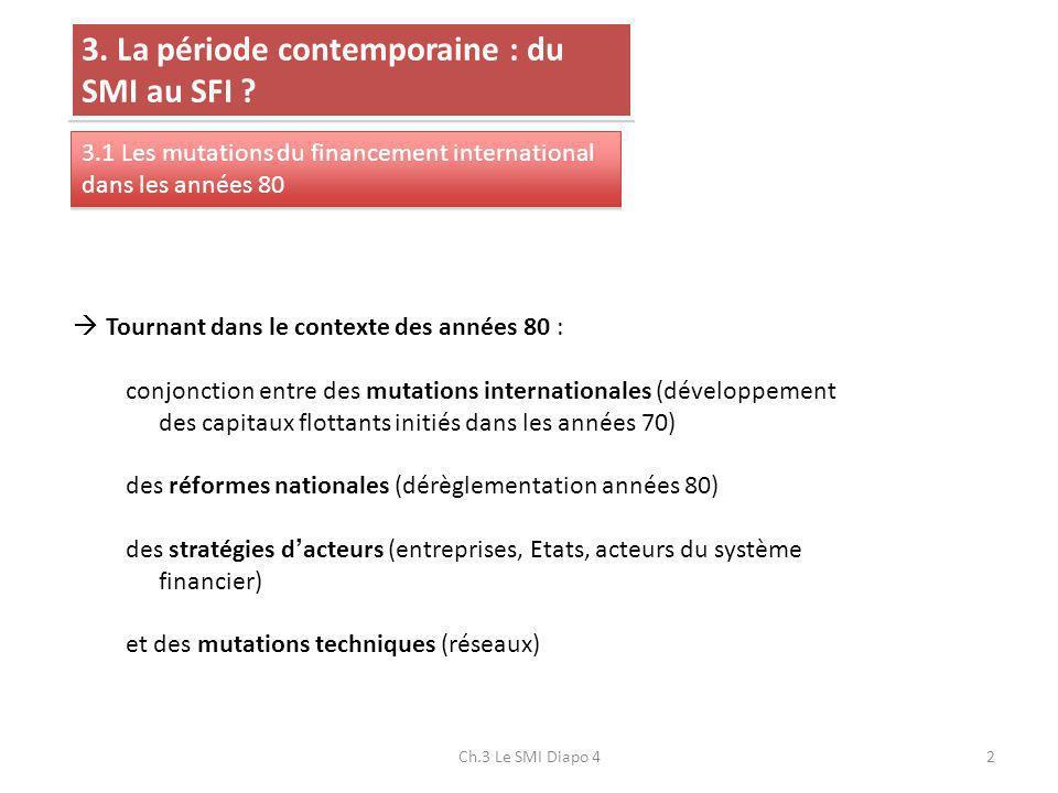 3. La période contemporaine : du SMI au SFI ? 3.1 Les mutations du financement international dans les années 80 Tournant dans le contexte des années 8