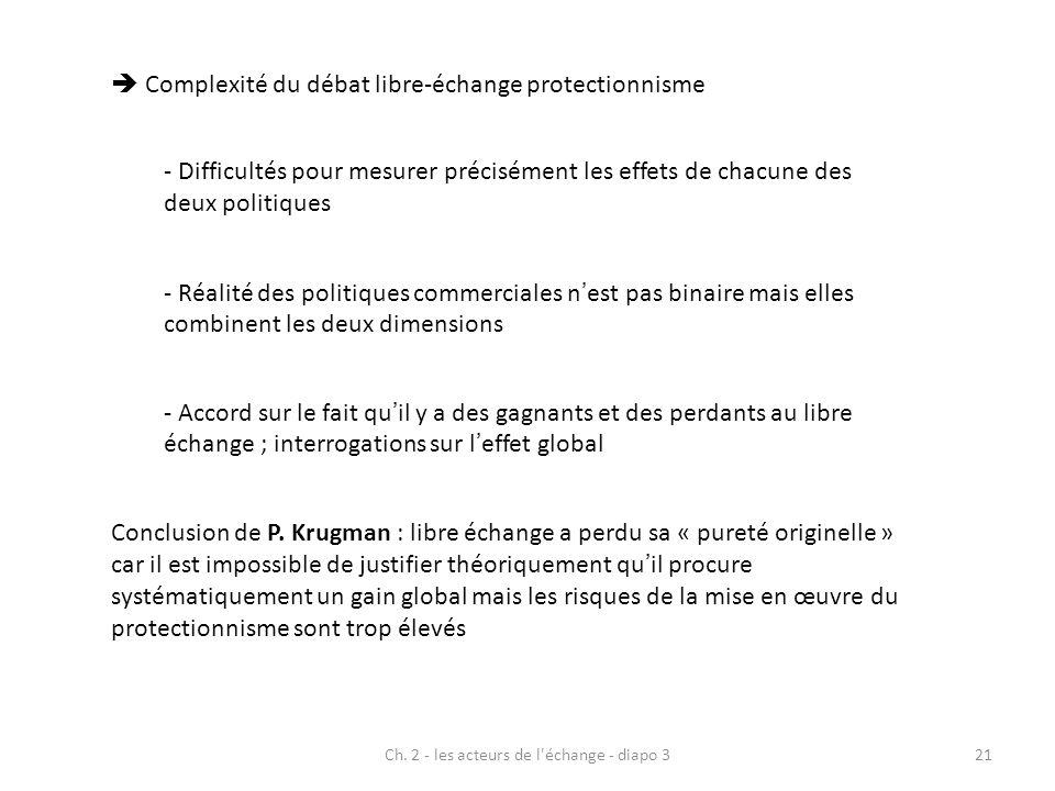 Ch. 2 - les acteurs de l'échange - diapo 321 Complexité du débat libre-échange protectionnisme - Difficultés pour mesurer précisément les effets de ch