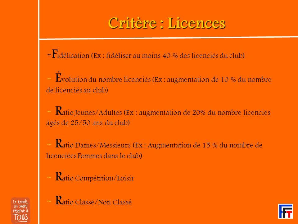 Critère : Formation - D irigeants / Bénévoles - P ermanents - F ormateurs Formations dispensées par la FFT et/ou autres organismes (Ex : CROS)