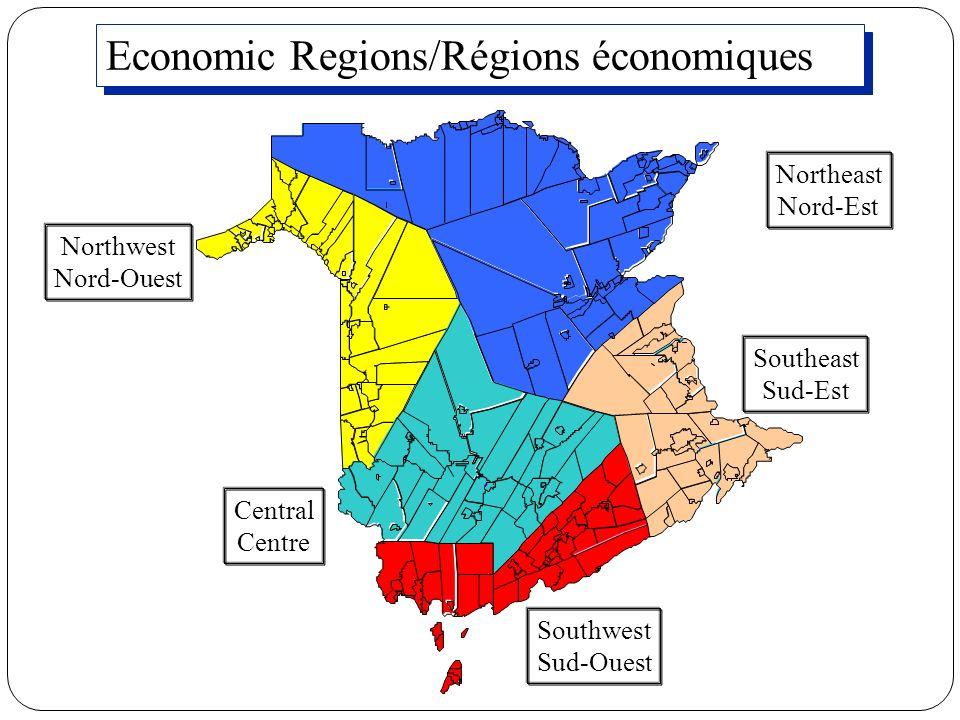 Economic Regions/Régions économiques Northeast Nord-Est Northwest Nord-Ouest Central Centre Southwest Sud-Ouest Southeast Sud-Est