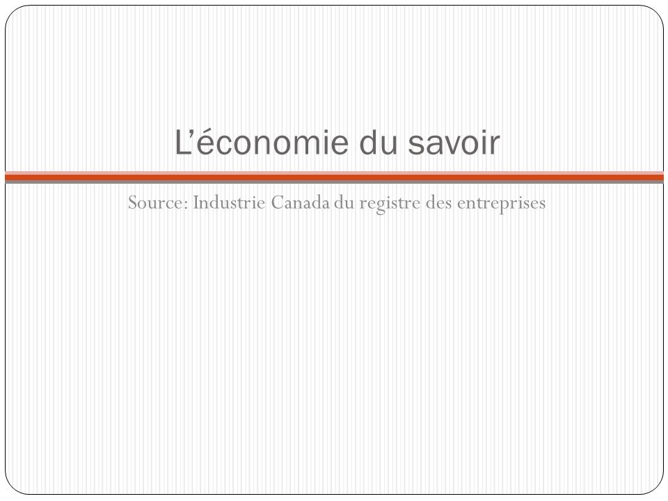 Léconomie du savoir Source: Industrie Canada du registre des entreprises