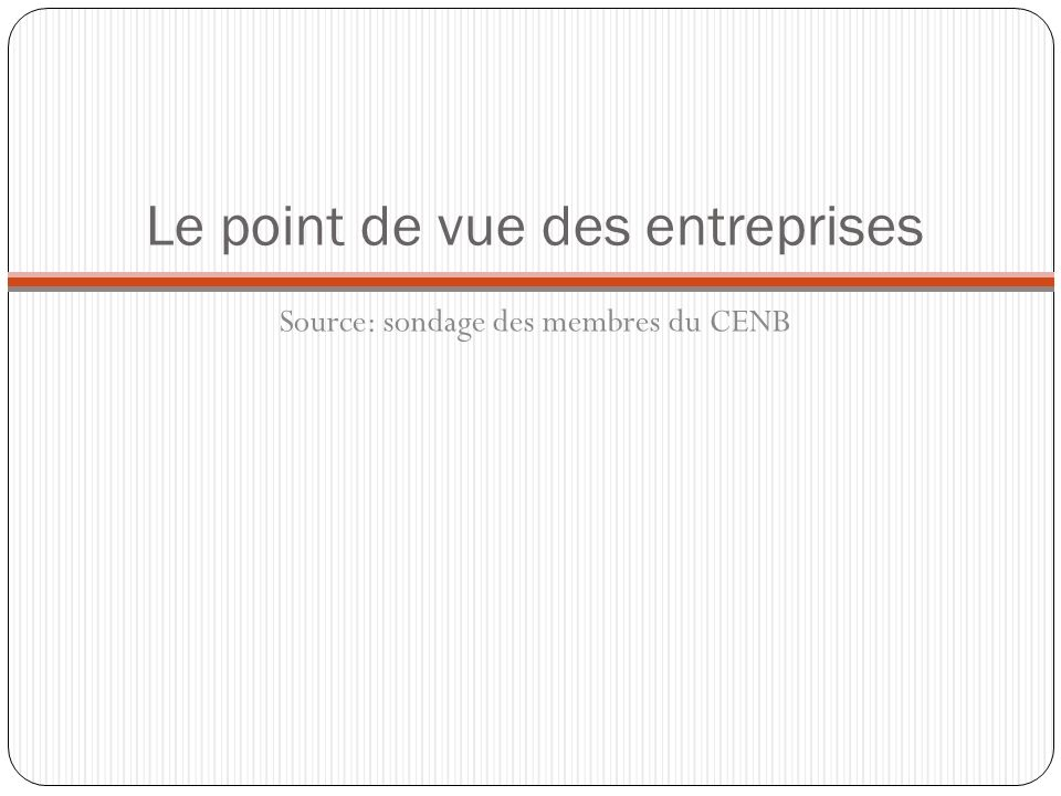 Le point de vue des entreprises Source: sondage des membres du CENB