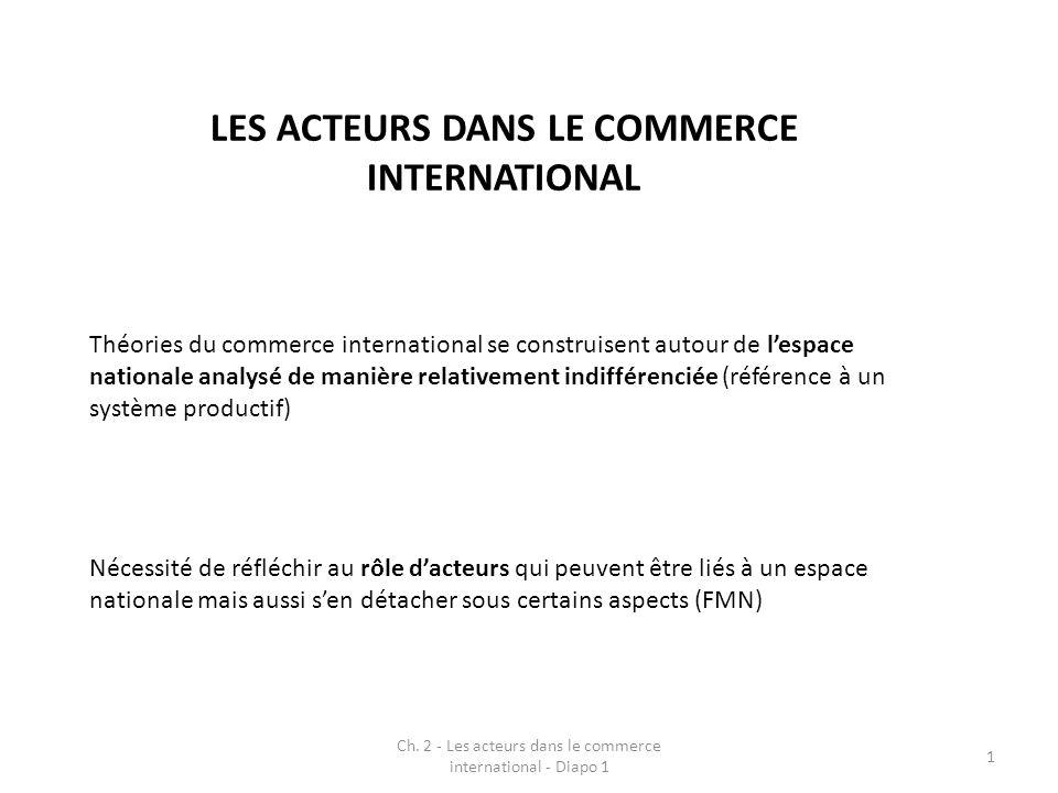 Ch. 2 - Les acteurs dans le commerce international - Diapo 1 1 Théories du commerce international se construisent autour de lespace nationale analysé