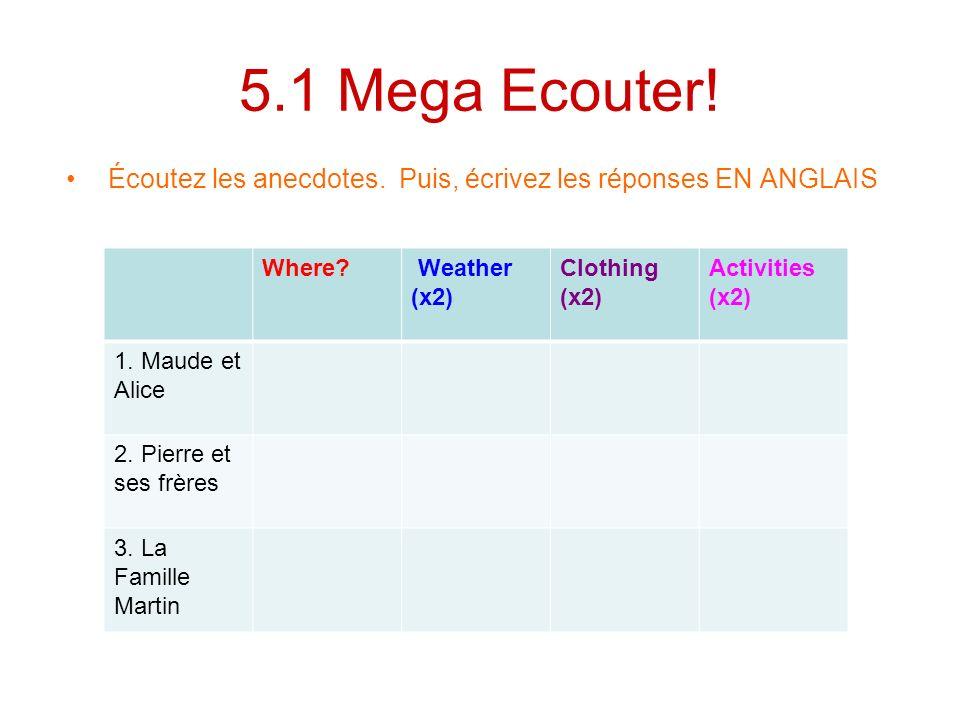 5.1 Mega Ecouter! Écoutez les anecdotes. Puis, écrivez les réponses EN ANGLAIS Where? Weather (x2) Clothing (x2) Activities (x2) 1. Maude et Alice 2.