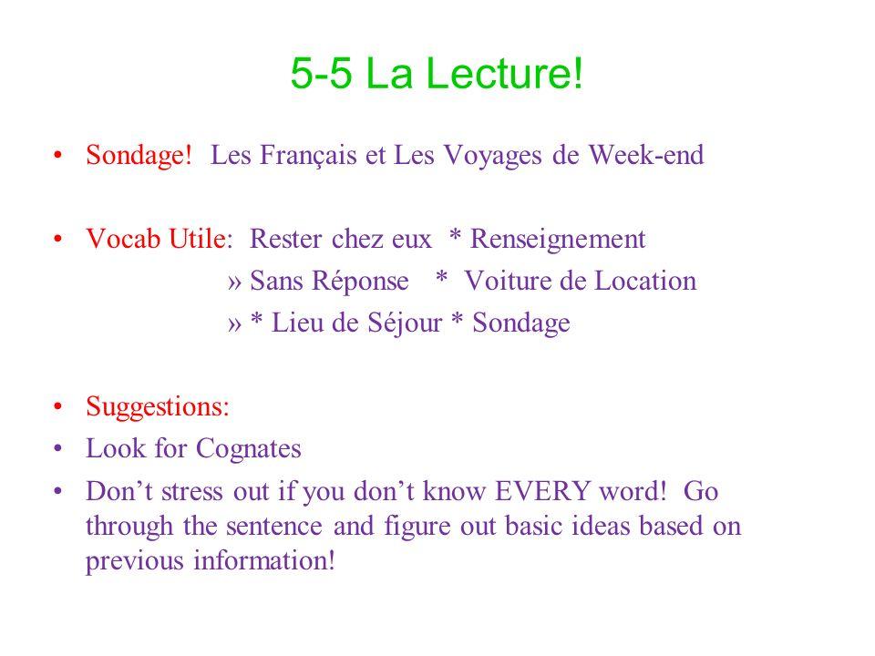 5-5 La Lecture! Sondage! Les Français et Les Voyages de Week-end Vocab Utile: Rester chez eux * Renseignement »Sans Réponse * Voiture de Location »* L