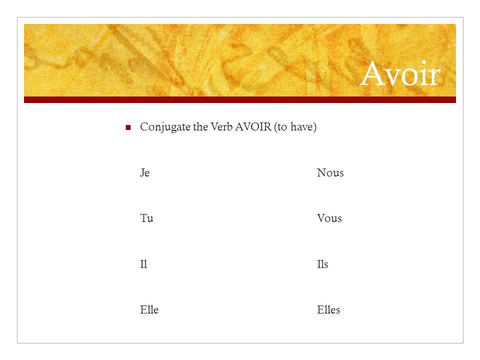 Etre Conjugate the verb être (to be) JeNous TuVous IlIls ElleElles