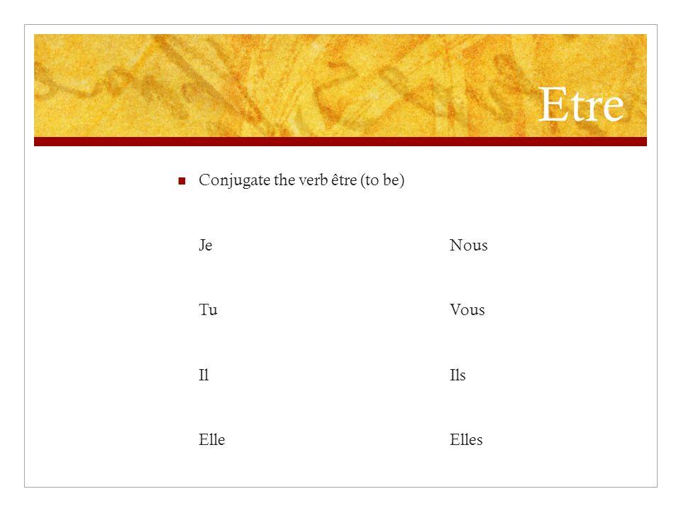 Aimer Conjugate the verb aimer (to like) JNous TuVous IlIls ElleElles