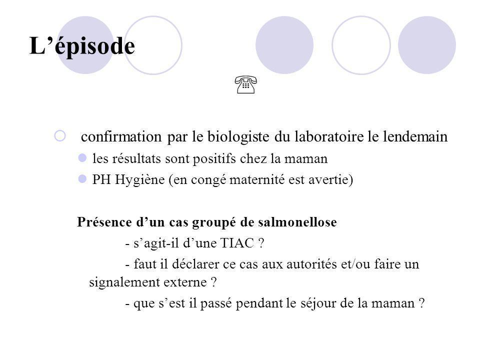 Lépisode confirmation par le biologiste du laboratoire le lendemain les résultats sont positifs chez la maman PH Hygiène (en congé maternité est avert