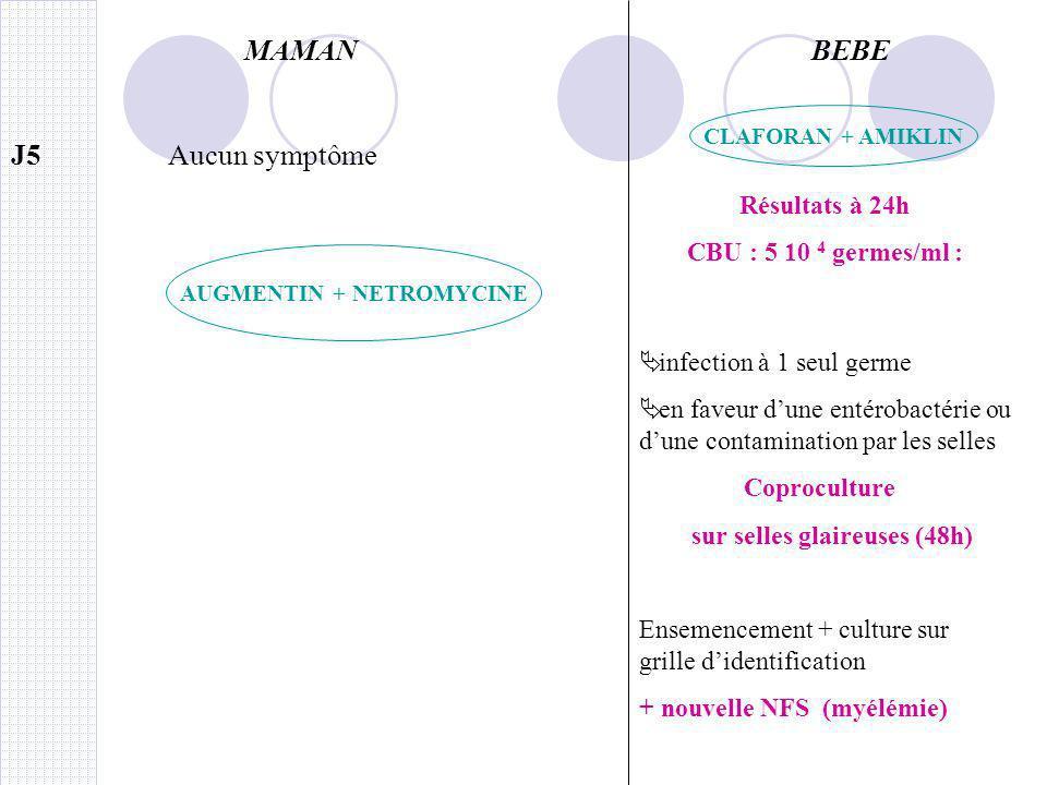 MAMANBEBE J7 Résultats coproculture du J5 Nombreuses colonies de Salmonella typhimurium J6 Résultats CBU : genre Salmonella Puis groupage avec sérotypes et recherche des Ag flagellaires et somatiques Salmonella typhimurium Nouvel ECBU bien réalisé donne 0 leucocytes 0 hématies culture stérile Hyperthermie 38,5°C AUGMENTIN + NETROMYCINE CLAFORAN + AMIKLIN