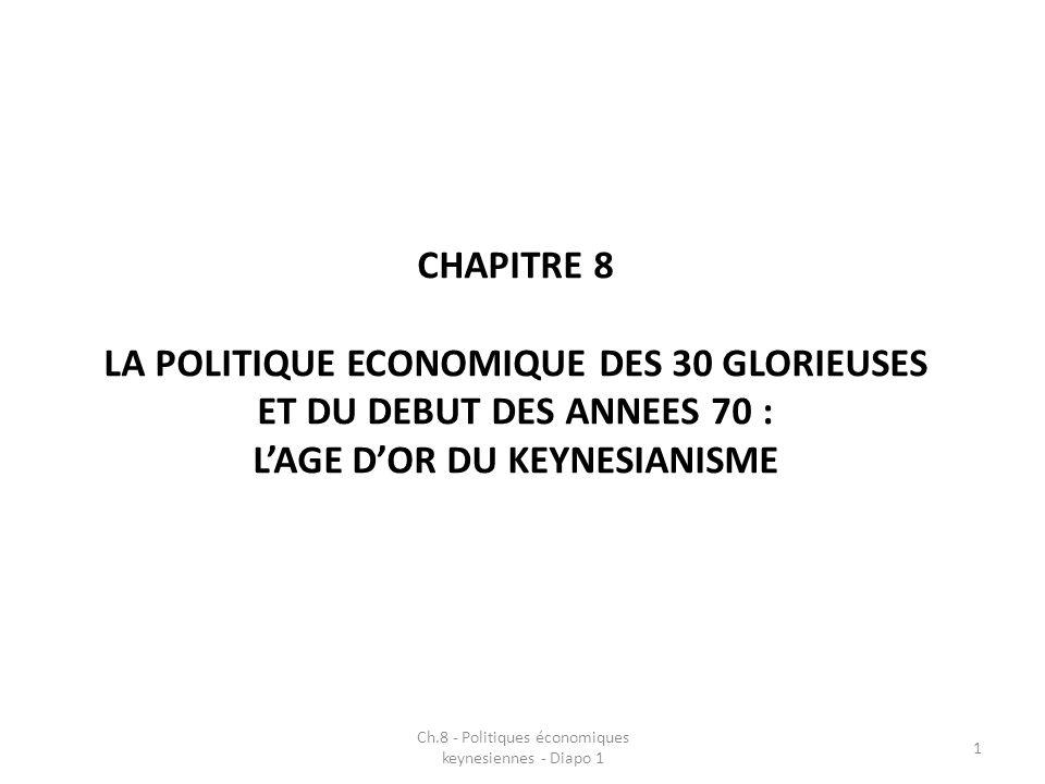 CHAPITRE 8 LA POLITIQUE ECONOMIQUE DES 30 GLORIEUSES ET DU DEBUT DES ANNEES 70 : LAGE DOR DU KEYNESIANISME Ch.8 - Politiques économiques keynesiennes - Diapo 1 1