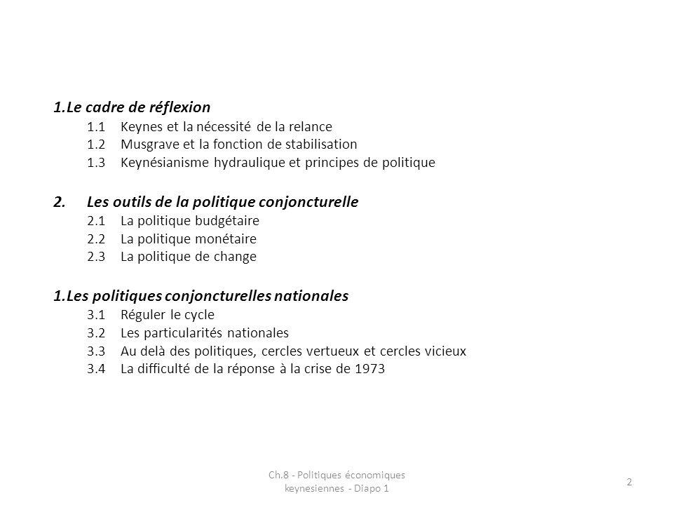 1.Le cadre de réflexion 1.1Keynes et la nécessité de la relance 1.2Musgrave et la fonction de stabilisation 1.3Keynésianisme hydraulique et principes de politique 2.Les outils de la politique conjoncturelle 2.1La politique budgétaire 2.2La politique monétaire 2.3La politique de change 1.Les politiques conjoncturelles nationales 3.1Réguler le cycle 3.2Les particularités nationales 3.3Au delà des politiques, cercles vertueux et cercles vicieux 3.4La difficulté de la réponse à la crise de 1973 Ch.8 - Politiques économiques keynesiennes - Diapo 1 2