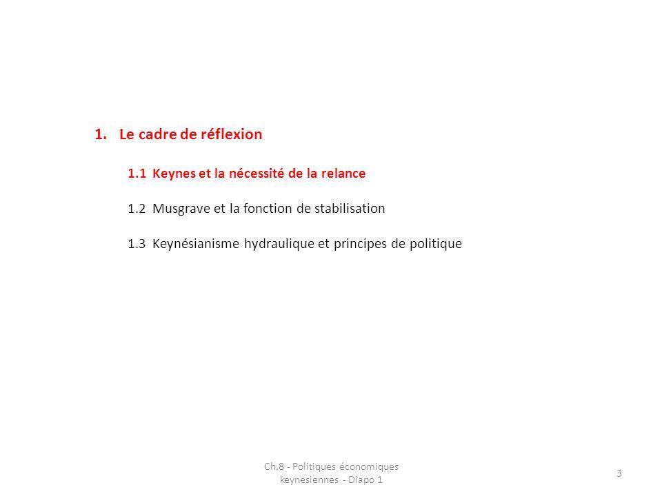 1.Le cadre de réflexion 1.1Keynes et la nécessité de la relance 1.2Musgrave et la fonction de stabilisation 1.3Keynésianisme hydraulique et principes de politique Ch.8 - Politiques économiques keynesiennes - Diapo 1 3