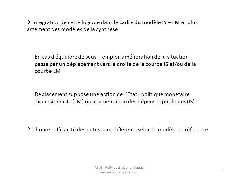 5 Intégration de cette logique dans le cadre du modèle IS – LM et plus largement des modèles de la synthèse En cas déquilibre de sous – emploi, amélioration de la situation passe par un déplacement vers la droite de la courbe IS et/ou de la courbe LM Déplacement suppose une action de lEtat : politique monétaire expansionniste (LM) ou augmentation des dépenses publiques (IS) Choix et efficacité des outils sont différents selon le modèle de référence