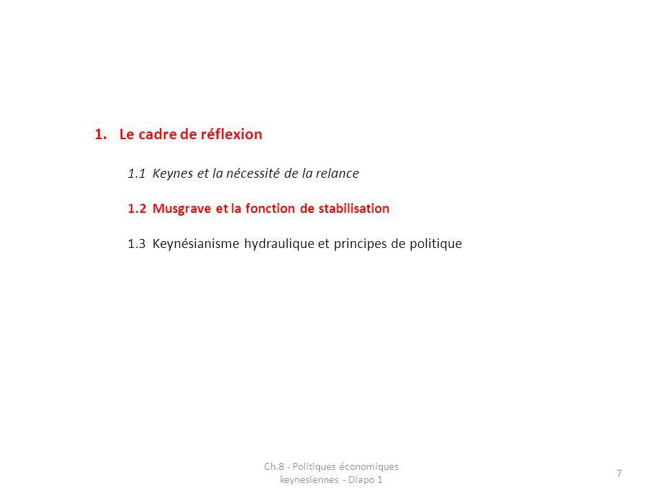 1.Le cadre de réflexion 1.1Keynes et la nécessité de la relance 1.2Musgrave et la fonction de stabilisation 1.3Keynésianisme hydraulique et principes de politique Ch.8 - Politiques économiques keynesiennes - Diapo 1 7