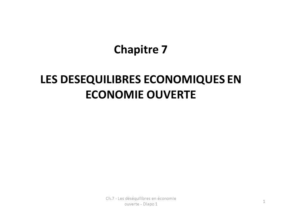 Réflexion autour de déséquilibres liés à la croissance (Kaldor – 1971) avec possibilités de phénomènes négatifs dans un contexte de croissance économique Articulation entre déséquilibres et politique économique Ch.7 - Les déséquilibres en économie ouverte - Diapo 1 2