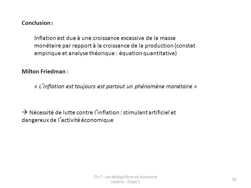 Ch.7 - Les déséquilibres en économie ouverte - Diapo 1 19 Conclusion : Inflation est due à une croissance excessive de la masse monétaire par rapport
