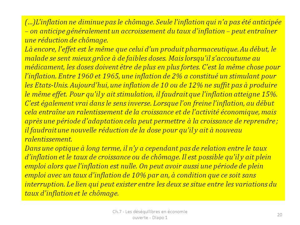 Ch.7 - Les déséquilibres en économie ouverte - Diapo 1 20 (…)L'inflation ne diminue pas le chômage. Seule l'inflation qui n'a pas été anticipée – on a