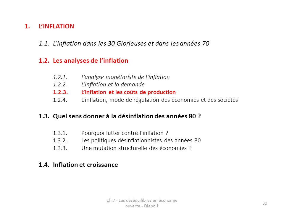 Ch.7 - Les déséquilibres en économie ouverte - Diapo 1 30 1.LINFLATION 1.1.Linflation dans les 30 Glorieuses et dans les années 70 1.2.Les analyses de