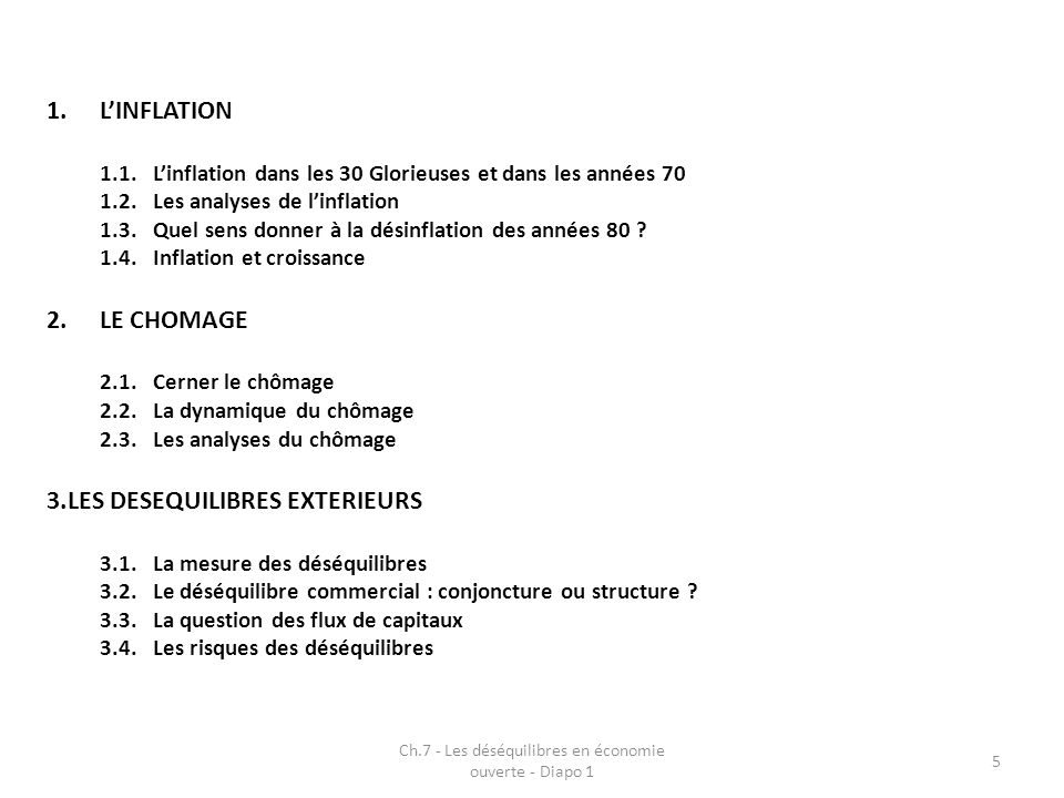 Ch.7 - Les déséquilibres en économie ouverte - Diapo 1 16 Question des causes du processus Lien direct avec le choc pétrolier (forte hausse des coûts de production) Résultat de logiques structurelles (formation des prix et des revenus) Résultat de mauvais choix de politique économique Apparition dun phénomène nouveau : « stagflation » (combinaison dun ralentissement de lactivité avec montée du chômage et dune accélération de linflation)