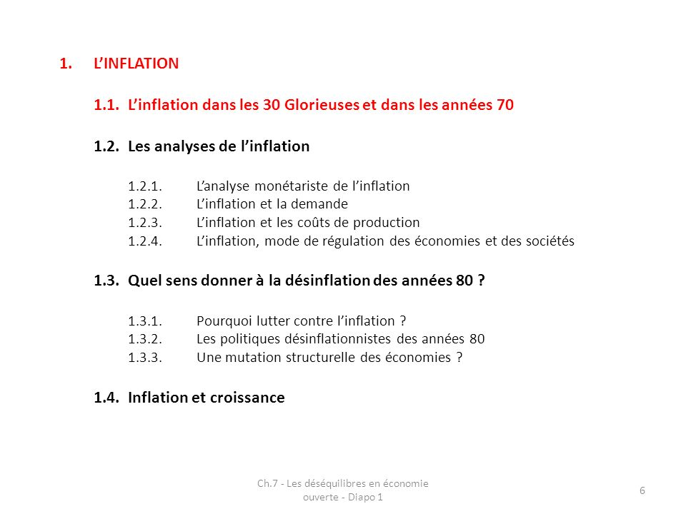 Ch.7 - Les déséquilibres en économie ouverte - Diapo 1 17 1.LINFLATION 1.1.Linflation dans les 30 Glorieuses et dans les années 70 1.2.Les analyses de linflation 1.2.1.Lanalyse monétariste de linflation 1.2.2.Linflation et la demande 1.2.3.Linflation et les coûts de production 1.2.4.Linflation, mode de régulation des économies et des sociétés 1.3.Quel sens donner à la désinflation des années 80 .