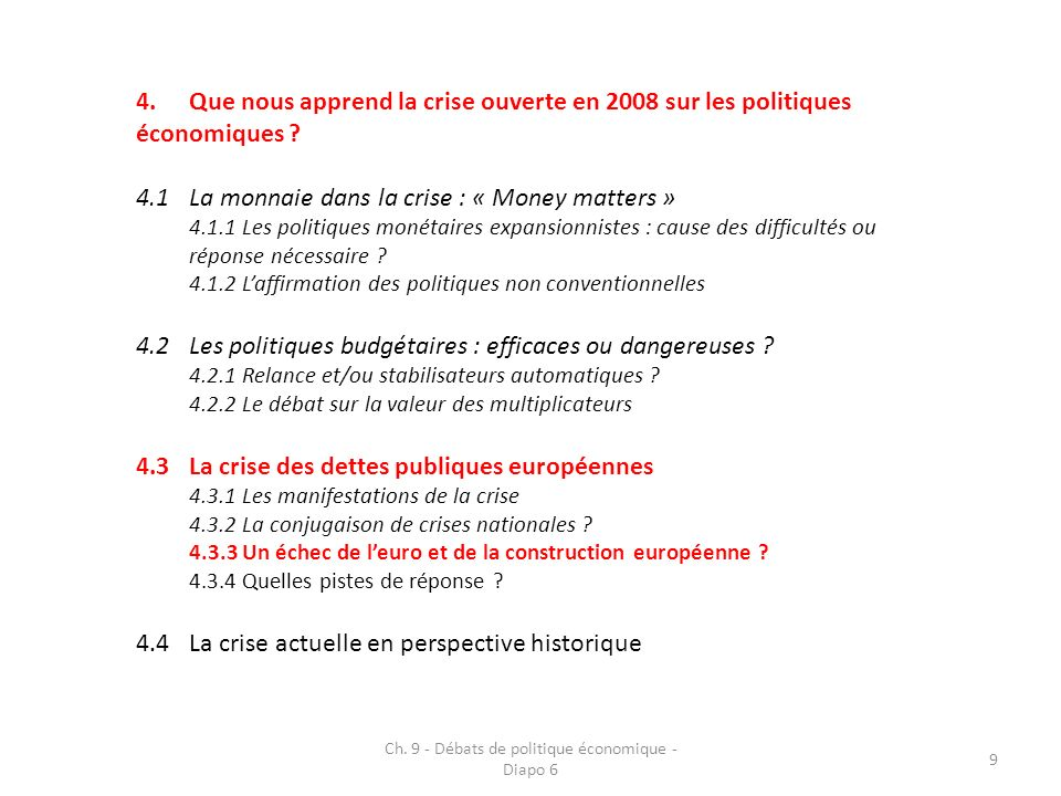 4.Que nous apprend la crise ouverte en 2008 sur les politiques économiques .