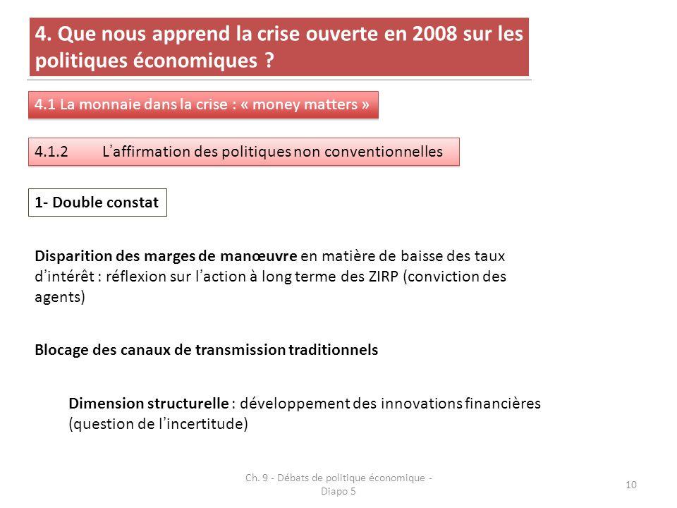 10 4. Que nous apprend la crise ouverte en 2008 sur les politiques économiques .