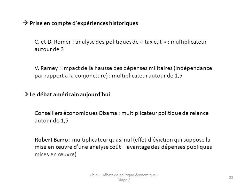 Ch. 9 - Débats de politique économique - Diapo 5 22 Prise en compte dexpériences historiques C.