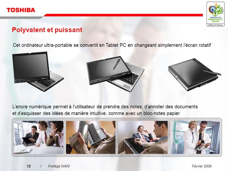 Février 200611/Portégé M400 Technologie mobile Intel ® Centrino ® Duo Avantages pour B2B « Je peux en faire plus en même temps ! » Meilleure productiv