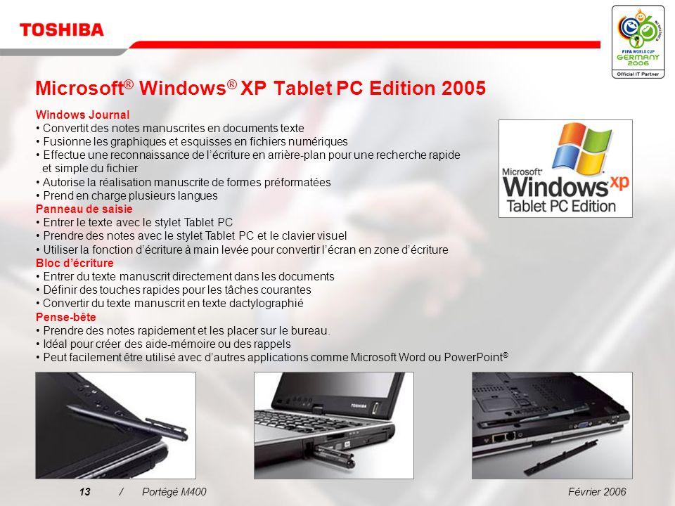 Février 200612/Portégé M400 Polyvalent et puissant Cet ordinateur ultra-portable se convertit en Tablet PC en changeant simplement lécran rotatif Lenc