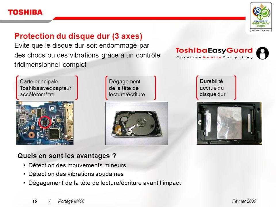 Février 200615/Portégé M400 Pourquoi choisir le Portégé M400 ? Une connectivité simplifiée dans tous les environnements Linformatique mobile de grande