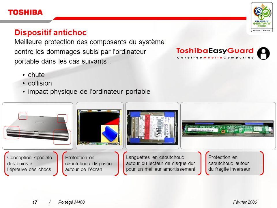 Février 200616/Portégé M400 Carte principale Toshiba avec capteur accéléromètre Dégagement de la tête de lecture/écriture Durabilité accrue du disque