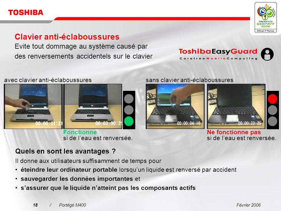Février 200617/Portégé M400 chute collision impact physique de lordinateur portable Dispositif antichoc Meilleure protection des composants du système