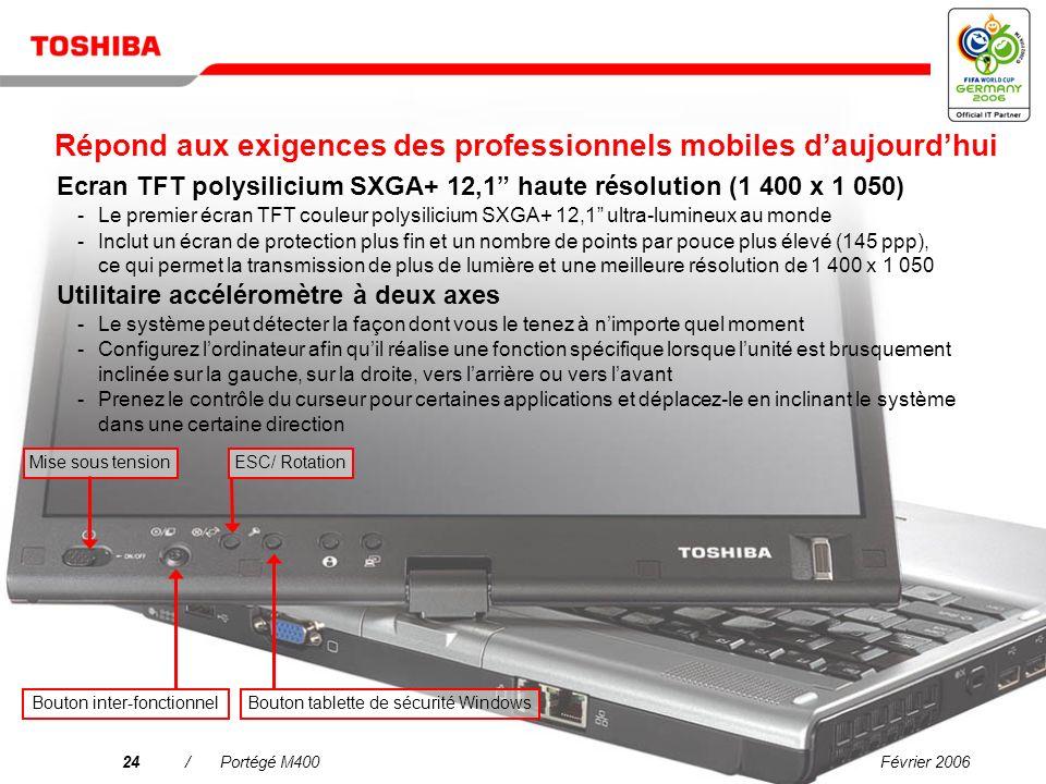 Février 200623/Portégé M400 Pourquoi choisir le Portégé M400 ? Une connectivité simplifiée dans tous les environnements Linformatique mobile de grande