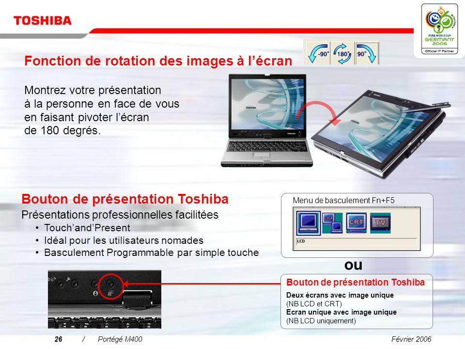 Février 200625/Portégé M400 Les performances mobiles accentuées Architecture de la mémoire plus rapide : Mémoire DDR2 667 MHz bicanal DDR2 est la nouv
