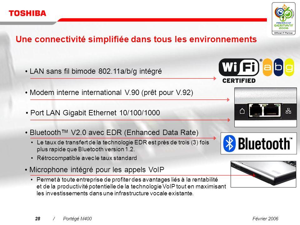 Février 200627/Portégé M400 Pourquoi choisir le Portégé M400 ? Une connectivité simplifiée dans tous les environnements Linformatique mobile de grande