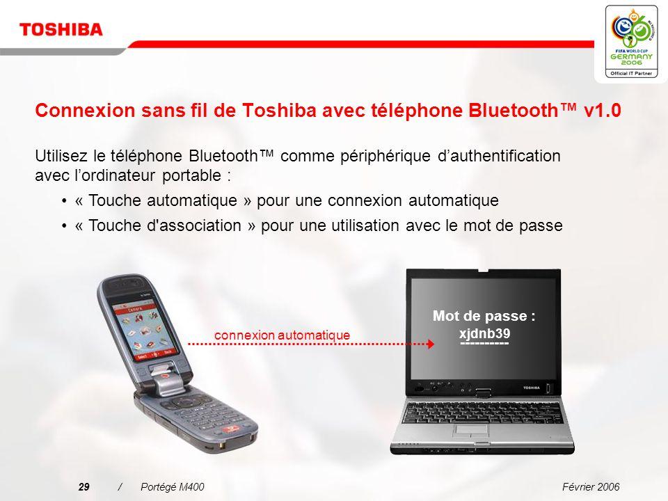 Février 200628/Portégé M400 Une connectivité simplifiée dans tous les environnements Microphone intégré pour les appels VoIP Permet à toute entreprise