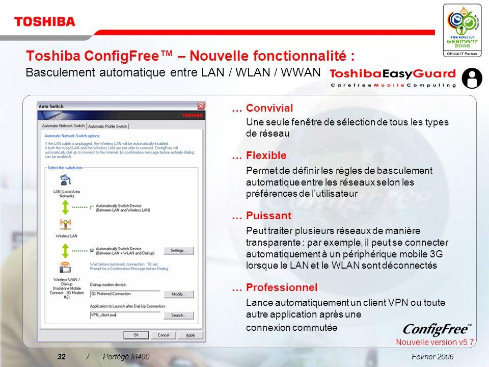 Février 200631/Portégé M400 Toshiba ConfigFree La connexion à un réseau na jamais été aussi simple !...Facilité de recherche des réseaux WiFi à laide