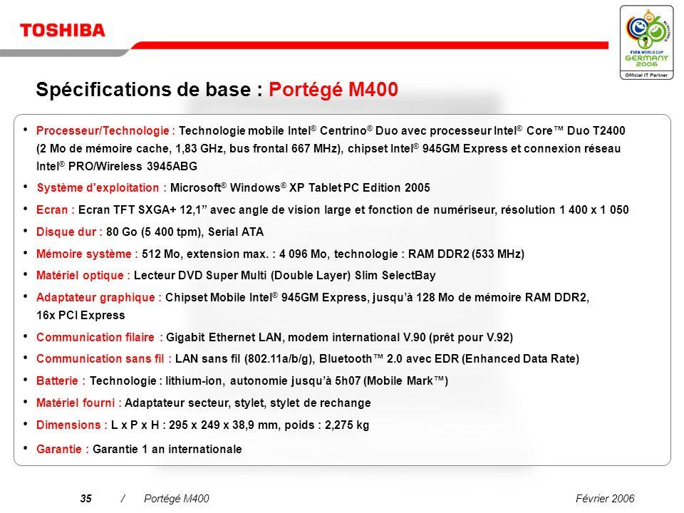 Février 200634/Portégé M400 Nouveau Toshiba Express Port Replicator Station daccueil conviviale et gestion du câblage réduite Vaste gamme dinterfaces