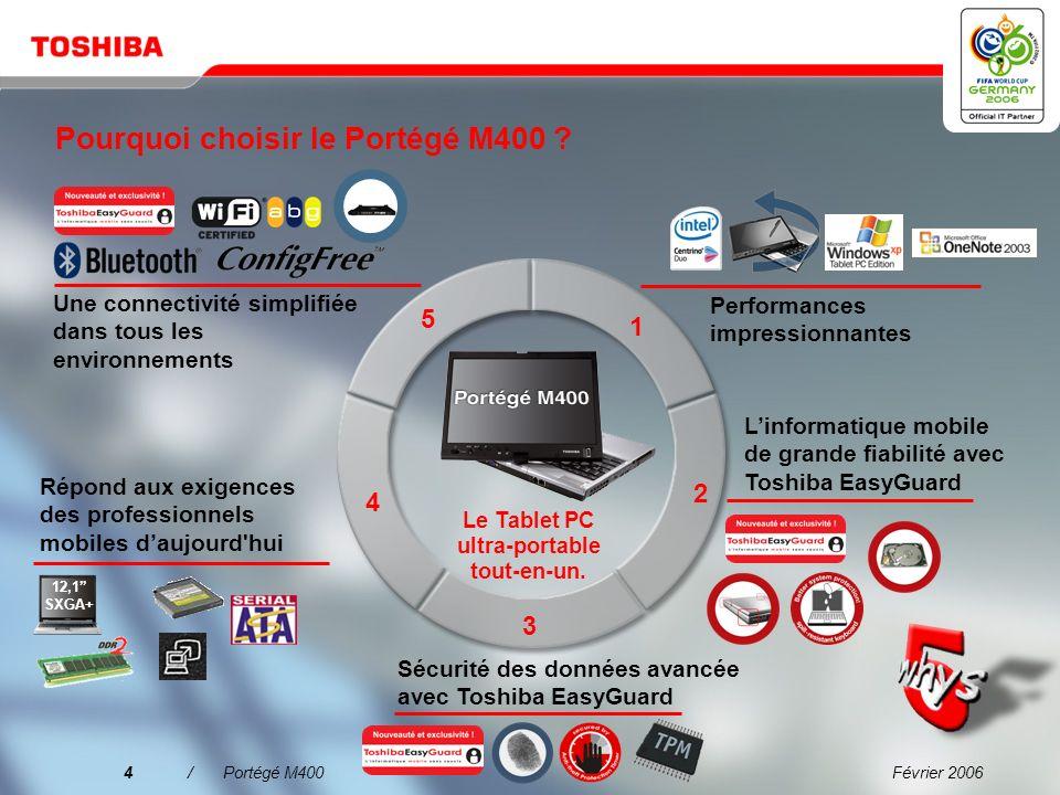 Février 20063/Portégé M400 « Toshiba propose des solutions de mobilité hautement novatrices qui conviennent parfaitement aux utilisateurs des petites
