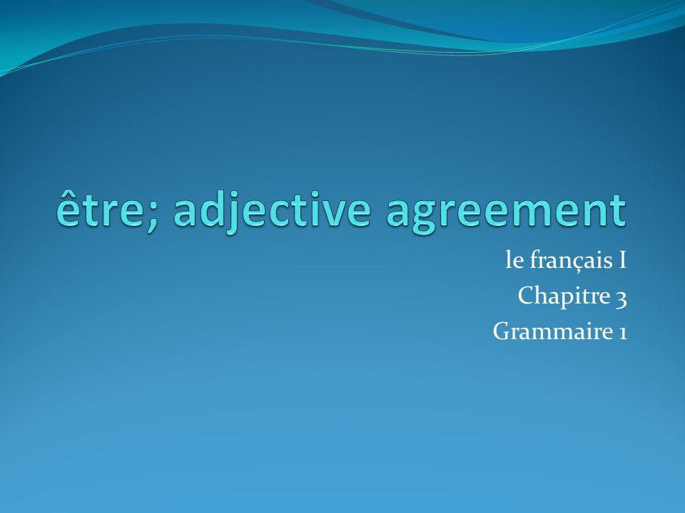 le français I Chapitre 3 Grammaire 1