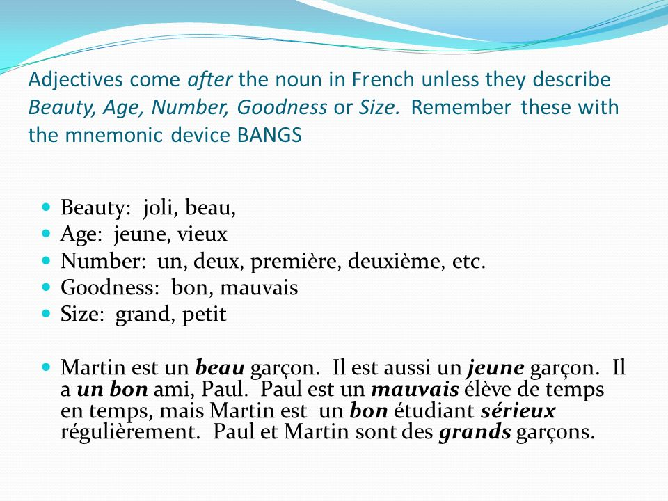 Add –s to the singular masculine or feminine form of the adjective to make it plural, unless the adjective already ends in –s (gros) or – x (généreux), in which case, it is the same in the singular and plural forms.