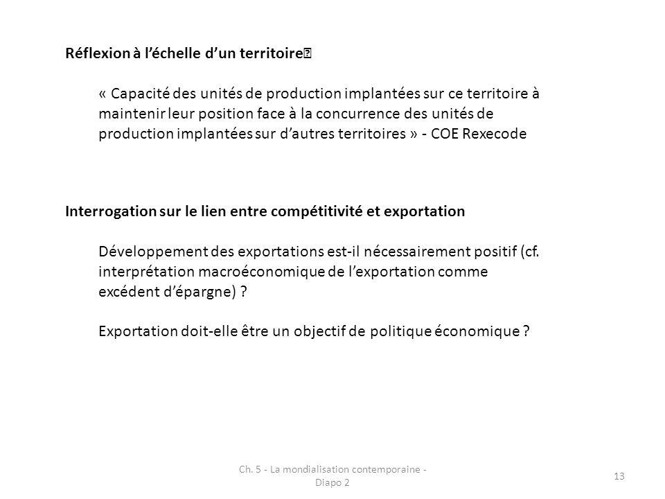 Ch. 5 - La mondialisation contemporaine - Diapo 2 13 Réflexion à léchelle dun territoire « Capacité des unités de production implantées sur ce territo