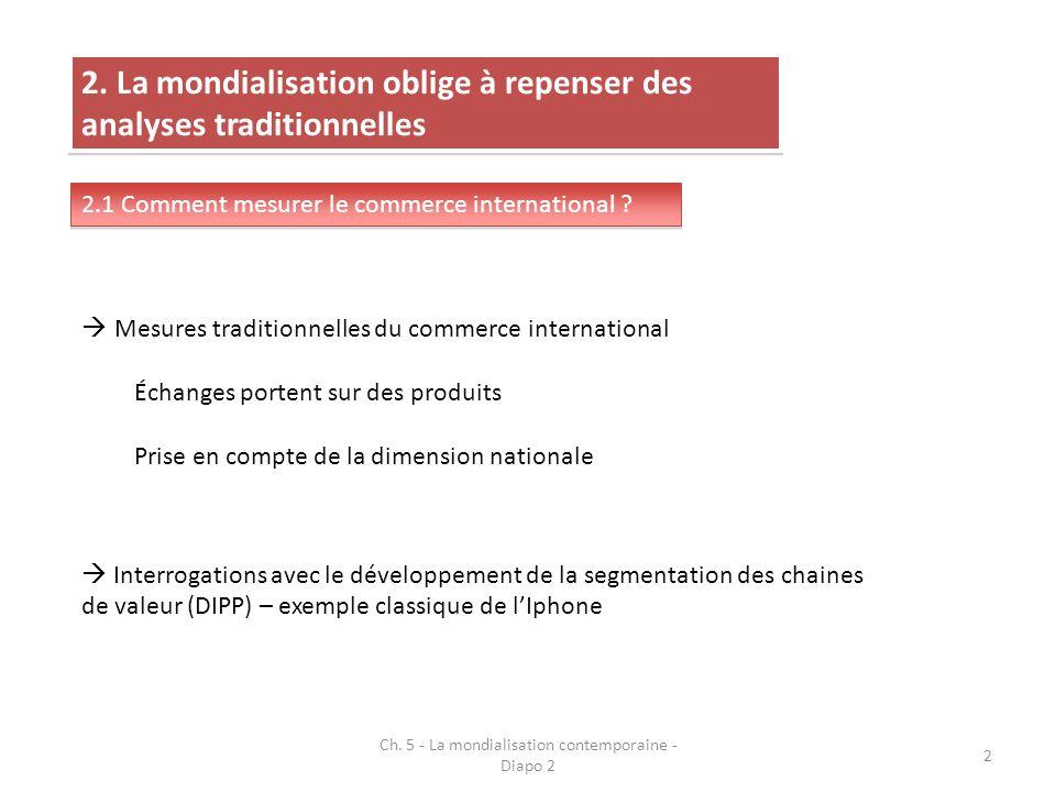 2. La mondialisation oblige à repenser des analyses traditionnelles 2.1 Comment mesurer le commerce international ? Mesures traditionnelles du commerc