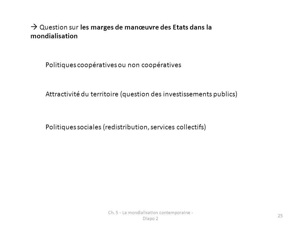 Ch. 5 - La mondialisation contemporaine - Diapo 2 25 Question sur les marges de manœuvre des Etats dans la mondialisation Politiques coopératives ou n