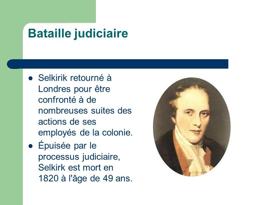 Bataille judiciaire Selkirik retourné à Londres pour être confronté à de nombreuses suites des actions de ses employés de la colonie. Épuisée par le p