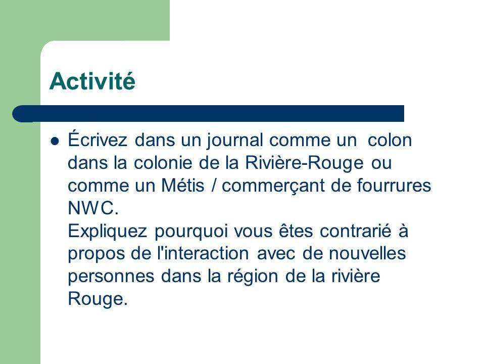 Activité Écrivez dans un journal comme un colon dans la colonie de la Rivière-Rouge ou comme un Métis / commerçant de fourrures NWC. Expliquez pourquo