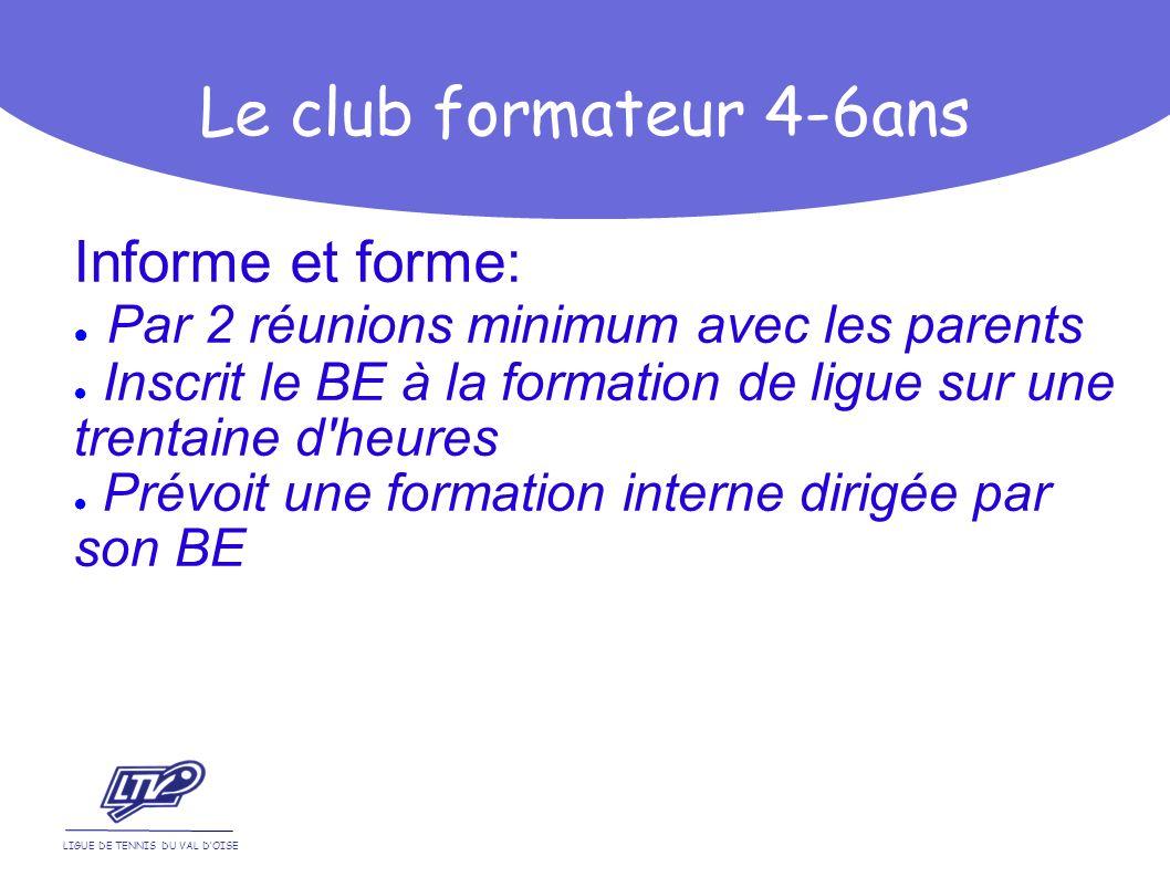 Informe et forme: Par 2 réunions minimum avec les parents Inscrit le BE à la formation de ligue sur une trentaine d'heures Prévoit une formation inter